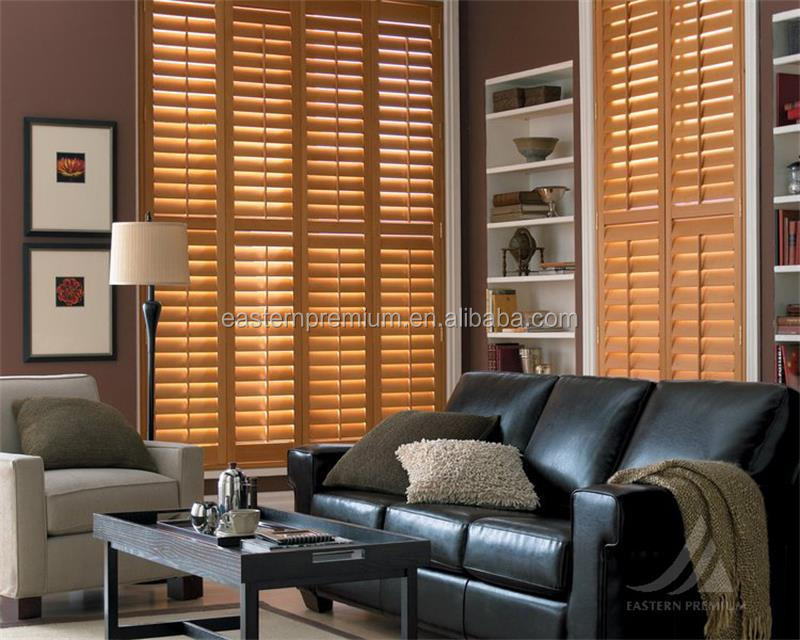 Wooden Blind, Paulownia PVC Poplar Plantation Shutter And Wood Blind for living room