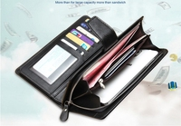 Business Style Cheap Zipper Wallet Phone Bag PU Leather Case With Multi Card Slot