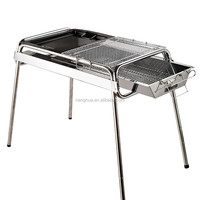 Fordable stainless steel charcoal bbq grill