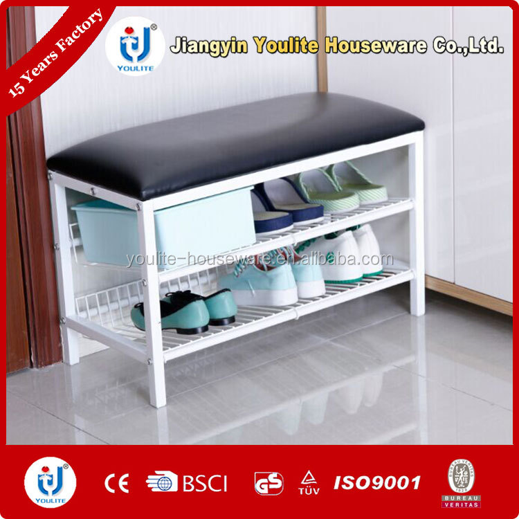 two layer white cabinet parts shoe rack