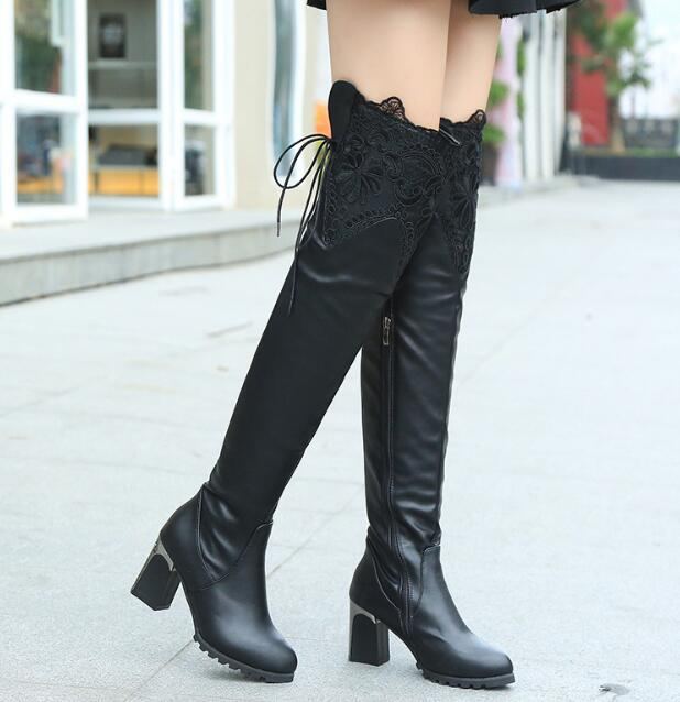 zm32919a womens lace thick high heel rubber shoes trendy lady over knee boots