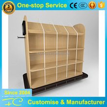 Functional shop fitting wood gondola shelving for clothes and bag display