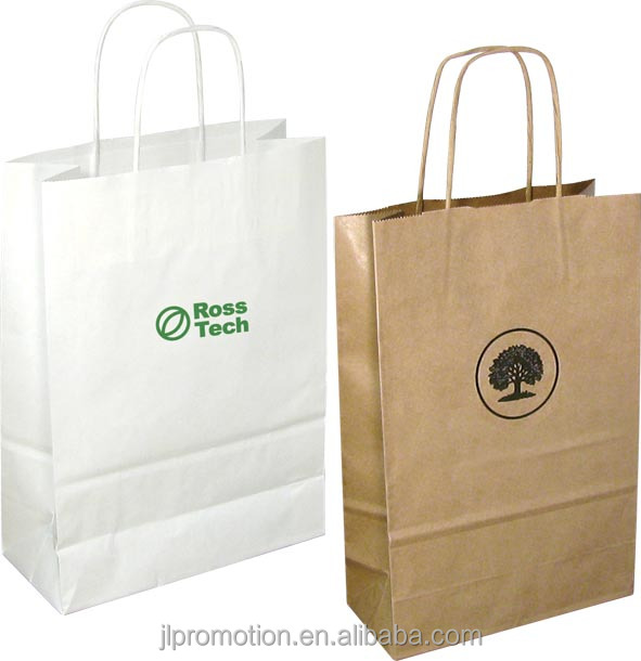 A4 Kraft Paper Bag carrier with twisted cord handles made from 100% recycled paper