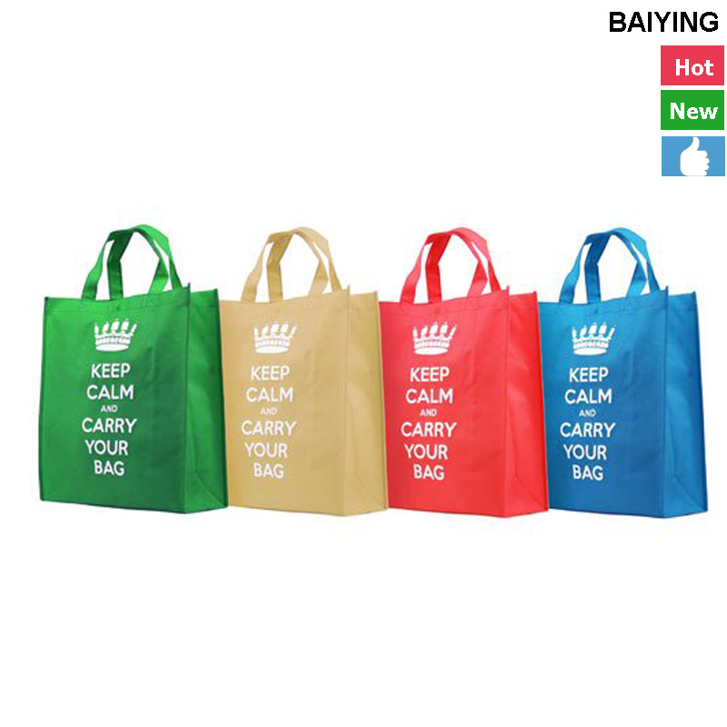2016 New design going green promotional shopping grocery non woven tote ba with certificate