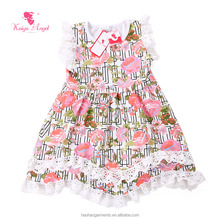 Super Soft and Stretchy Milk Silk Floral Prints Summer Girls Ruffled Dress