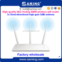 High quality 802.11n/b/g Long Distance 300Mbps Wireless Wifi router with 3 x omni 5dBi antenna