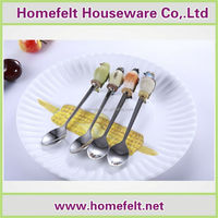 Bird shaped polyresin handle stainless steel 18/10 soup spoon