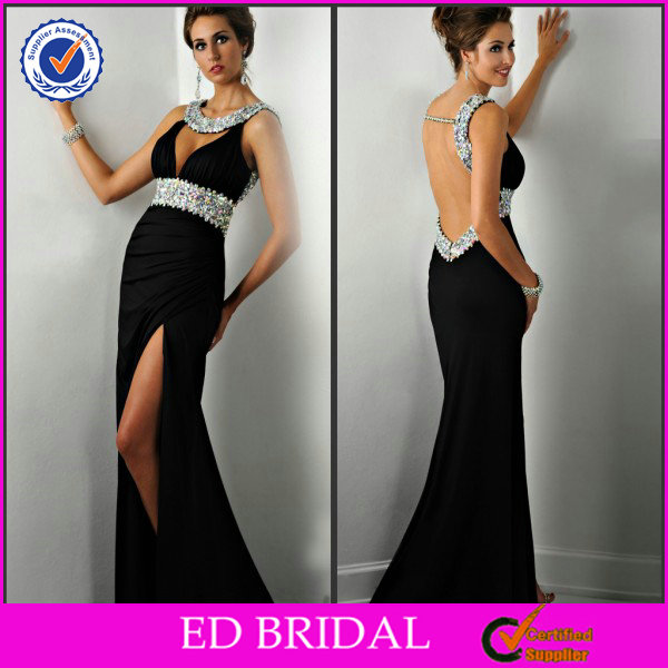 EDE292 Elegant Black Open Back Crystal Side Slit Latest Design Formal Evening Gown