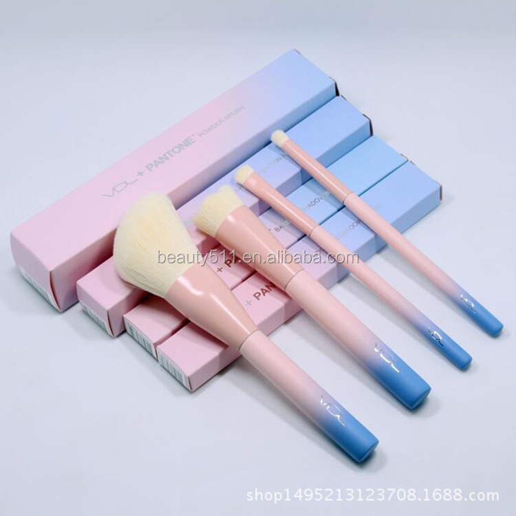 4 makeup brush Pantone powder blue gradient color makeup brush make-up tools beauty brush set
