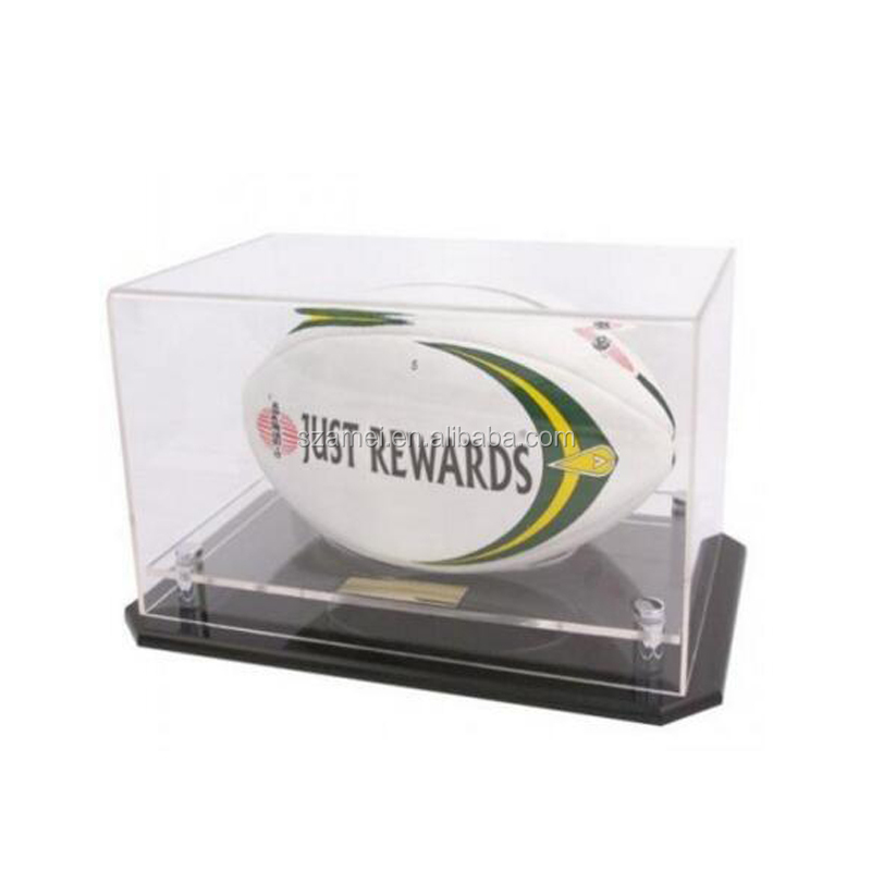 hot sale Plexiglass Ball Display Case with Customized Acrylic Rugby Display Box