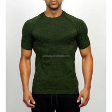 2017 new product muscle fit men fitness t shirt round neck seamless multi-colored options polyester t shirts 180gsm