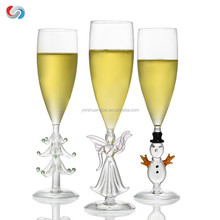 Promotion Creative Christmas Champagne flutes Glass Cup With Angle/Snowman Stem Good Christmas Decorations