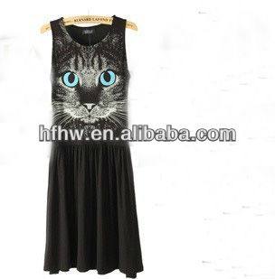 The new summer 2013 European blue eyes night cat vest dress