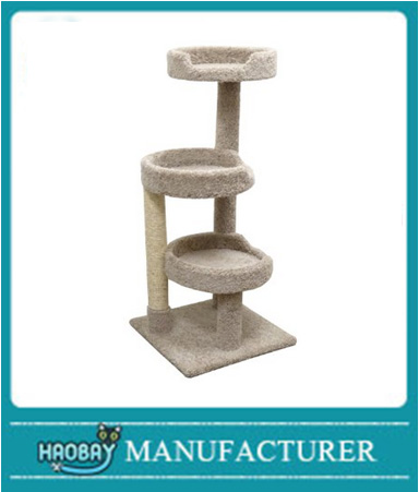 Window Size Kitty Tree Cat Tower with 3 Large Beds, Beige Carpet