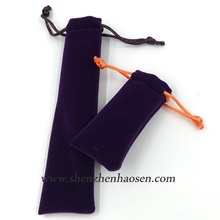 Purple Color Velvet Drawstring Pen Pouch, Purple Pen Pouch