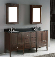 Antique style solid wood double basins solid bathroom vanities