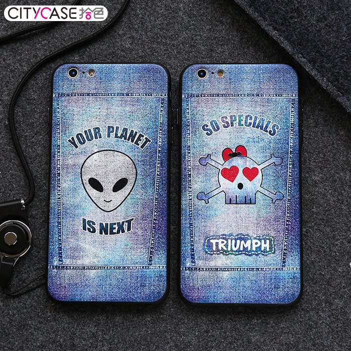 city&case Embossed Jean Style mobile phone accessories, wholesale phone cases for boys for iPhone6 6plus
