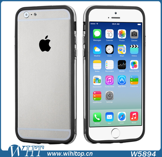Transparent Clear Middle PC Silicone Frame Bumper for iPhone 6 with metal buttons