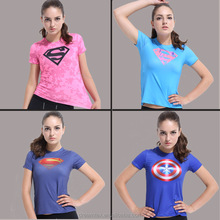 Women custom superhero fitted sports t shirt tight dry fit breathable t-shirt
