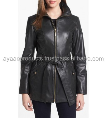 "High Quality Belted Leather Jacket Ayaan"" Exclusive AP-1412"