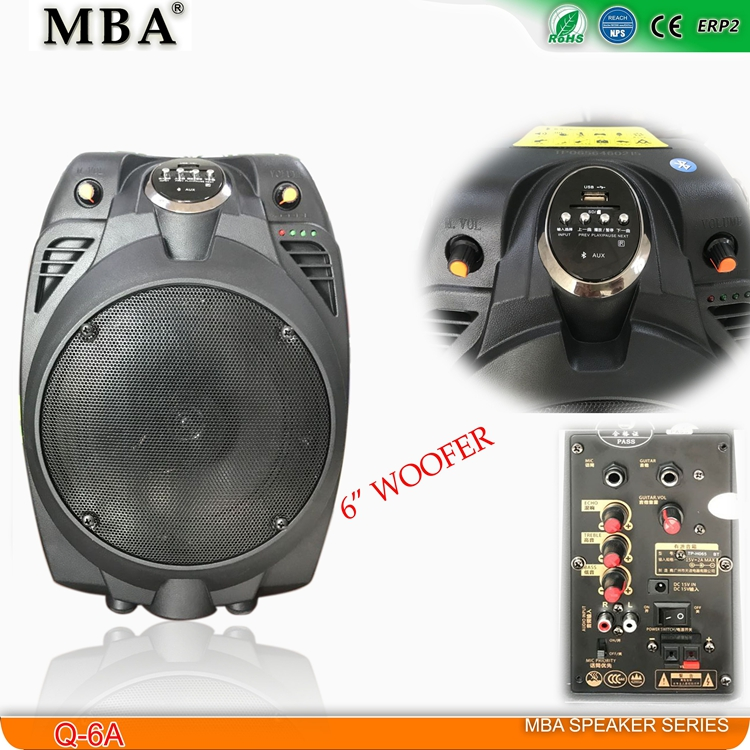 "High quality 6"" portable pa speaker system analog power amplifier battery powered bluetooth speakers"