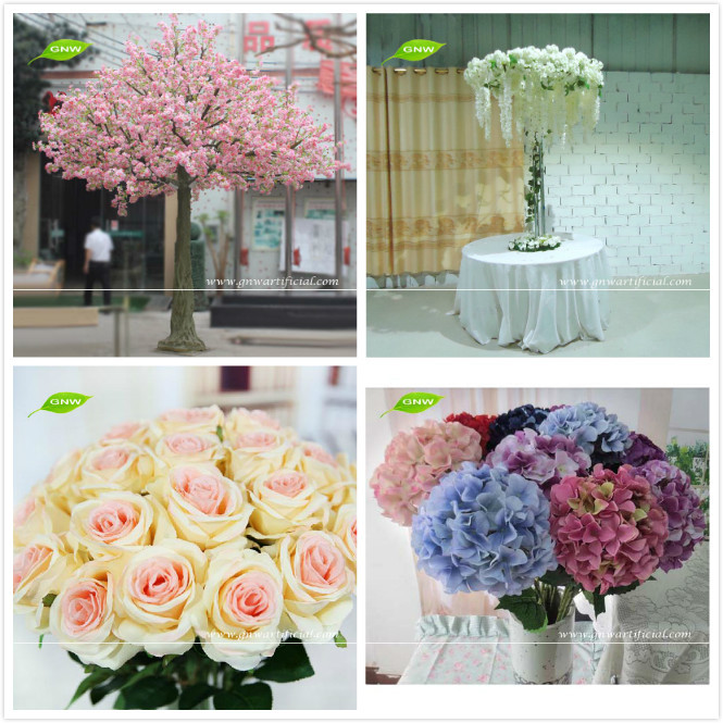GNW 7ft artificial rose and hydrangea white wedding arches with flowers for event backdrop decoration