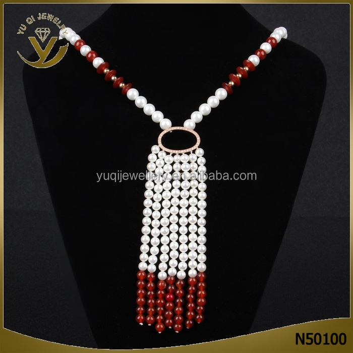 Newest Jewelry Fashion Luxury bridal Necklace Chain Multilayer Tassel Pearl Choker Pendant Women