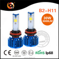 Super bright B2 series H11 canbus led car bulb turbo fan cooling 6000K 8000K IP68 with driver