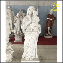 Hand made Natural marble stone Virgin Mary and baby Jesus statue