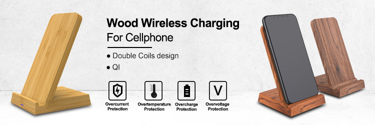 10W 7.5W 5W Patented design foldable 3 Coils Bamboo Wood fast charging QI wireless charger for Iphone for Samsung Galaxy