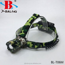 18650 Camouflage outdoor comping exploring T6 ZOOM led rechargeable headlamp