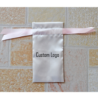 custom satin gift bags/cosmetic bag with satin lace