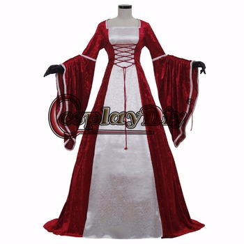 red medieval dress medieval dress cosplay costume Victorian Ball Gown cosplay costume women's fancy dress custom made