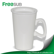 Plain White Sublimation magnesia porcelain D shape handle tall cup Mugs