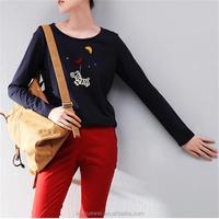 Long Sleeve Fashion Ladies Sublimation 60 Cotton 40 Polyester T Shirts Wholesale