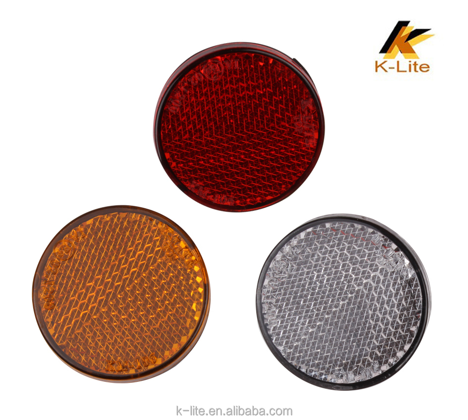 Round road red blue motorcycle rear side plastic light reflectors KM106