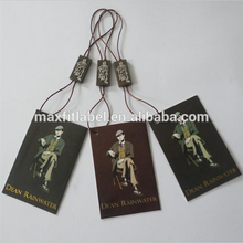 Custom brand name coated paper hangtag with string seal tag embossed logo