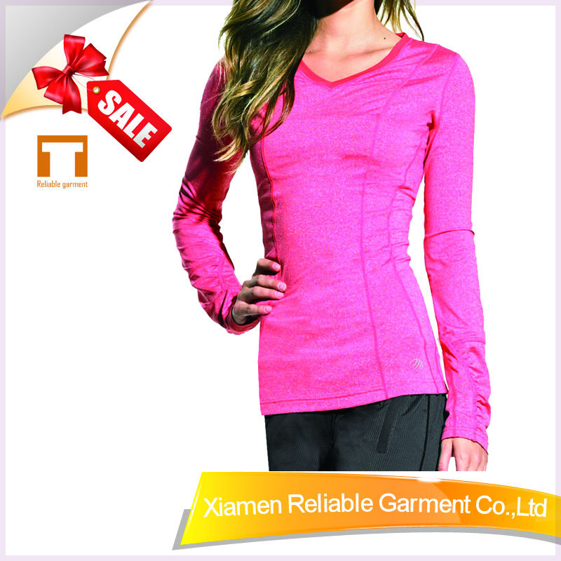 95%Polyester/5%Spandex long sleeve tight bulk plain pink t shirts for women sports