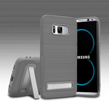 Brush Pattern Rubber TPU Phone Case For Samsung Galaxy S8 With Foldable Kickstand
