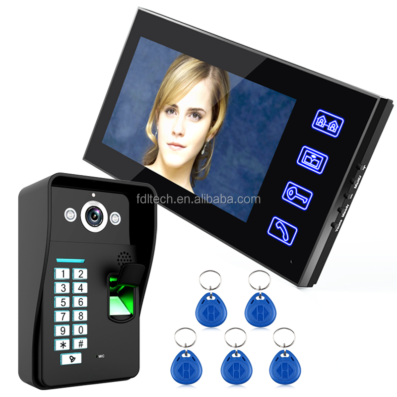 With Electric lock waterproof video door bell touch screen intercom system