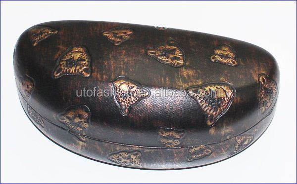 YT3060 Faux Leopard Head PU Leather Hard Sunglasses Case