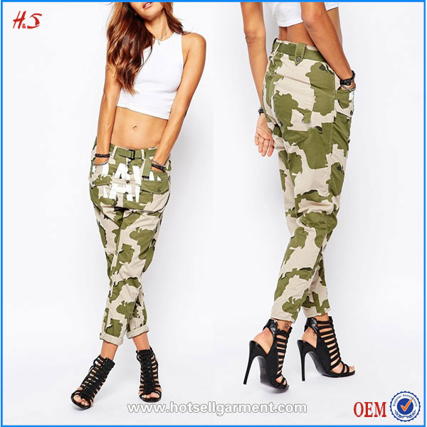 Western Modern Cheap Wholesale Camo Print Woman Cotton Wear Loose Casual Military Style Cargo Pants