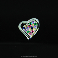 LIXIN 925 sterling silver fashion jewelry colorful stone pendant (SLL09-10ZZ)