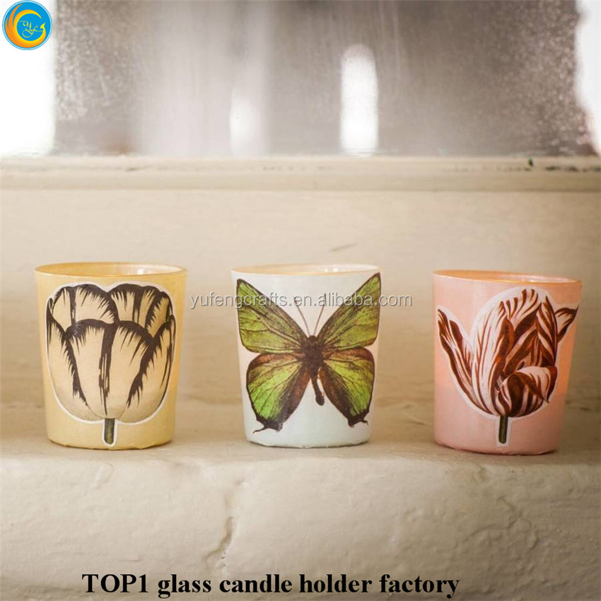 Butterfly decorative glass jars container candles yufeng