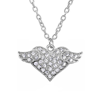 Gorgeous shimmering crystal heart with flying angel wings silver necklace girls jewelry