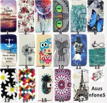 Color Print Slim Wallet Leather Case Cover For Asus Zenfone 5