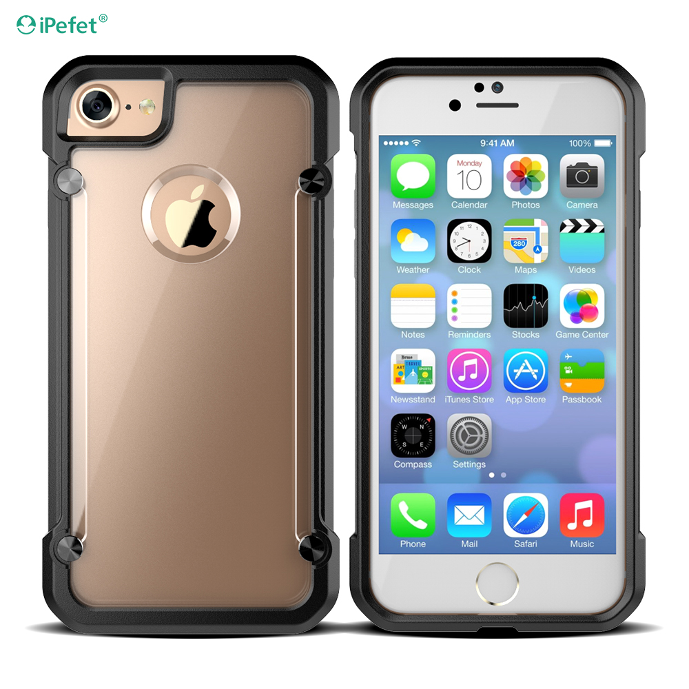 Transparent Shockproof Hybrid Beetle TPU PC Case For iPhone 7