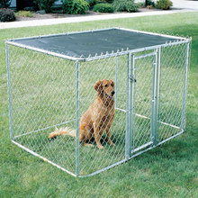 Galvanized outdoor pet house exercise pen dog run large metal chain link dog kennel with cover