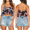 Latest summer Australia women apparel vintage floral printing crop top