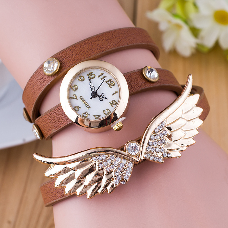 2917 angel wing pendant analog bracelet watch for women watch bracelet